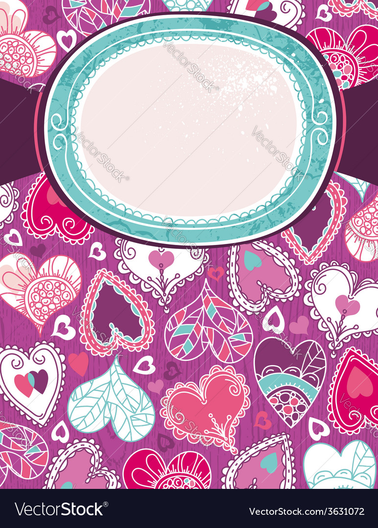 Violet valentine background with color hearts vector | Price: 1 Credit (USD $1)