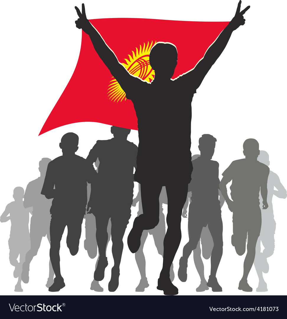 Athlete with the kyrgyzstan flag at the finish vector | Price: 1 Credit (USD $1)
