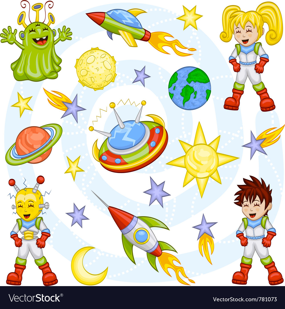 Cartoon outer space set vector | Price: 5 Credit (USD $5)