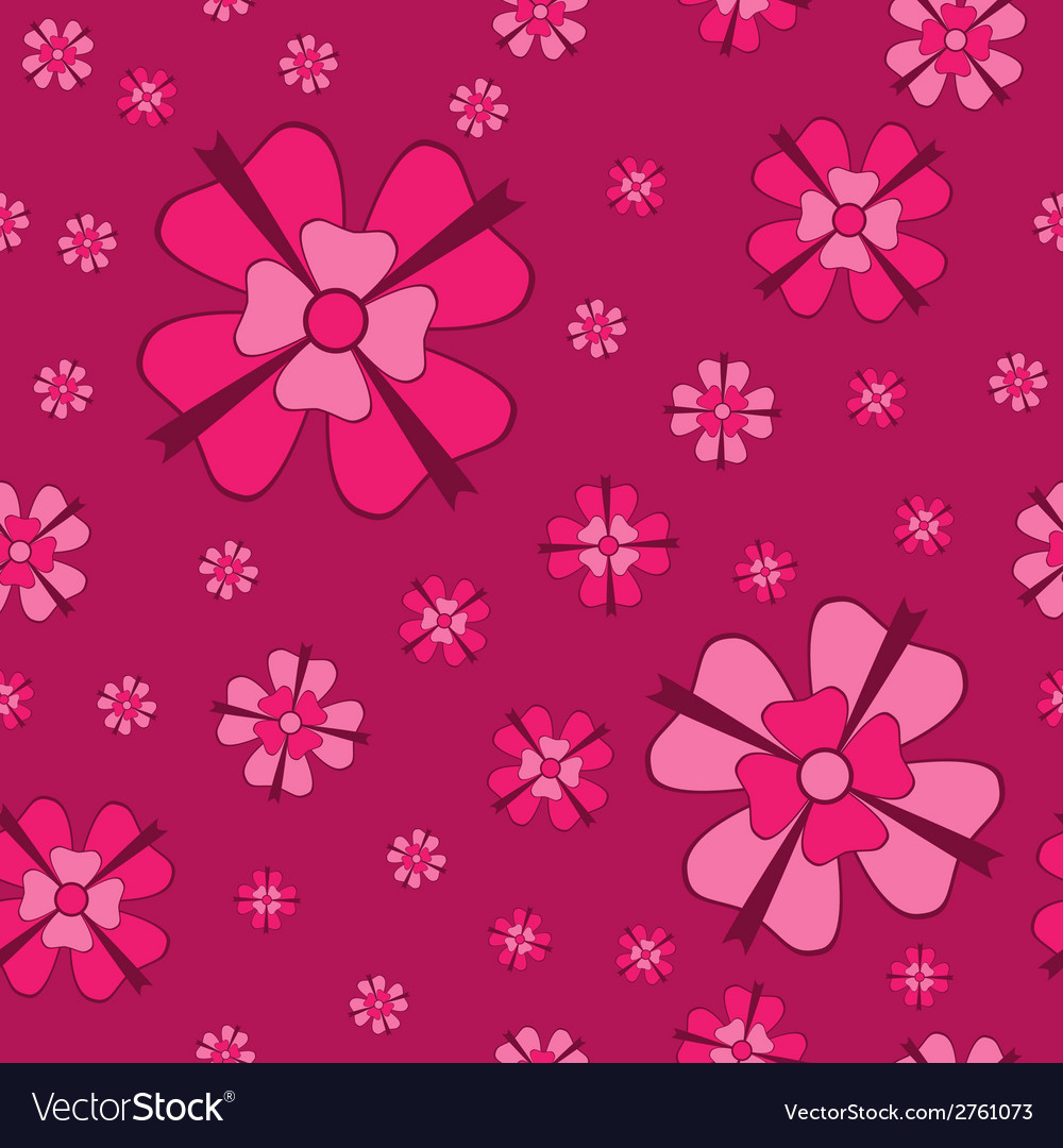 Cowberry flowers with bows seamless pattern vector | Price: 1 Credit (USD $1)