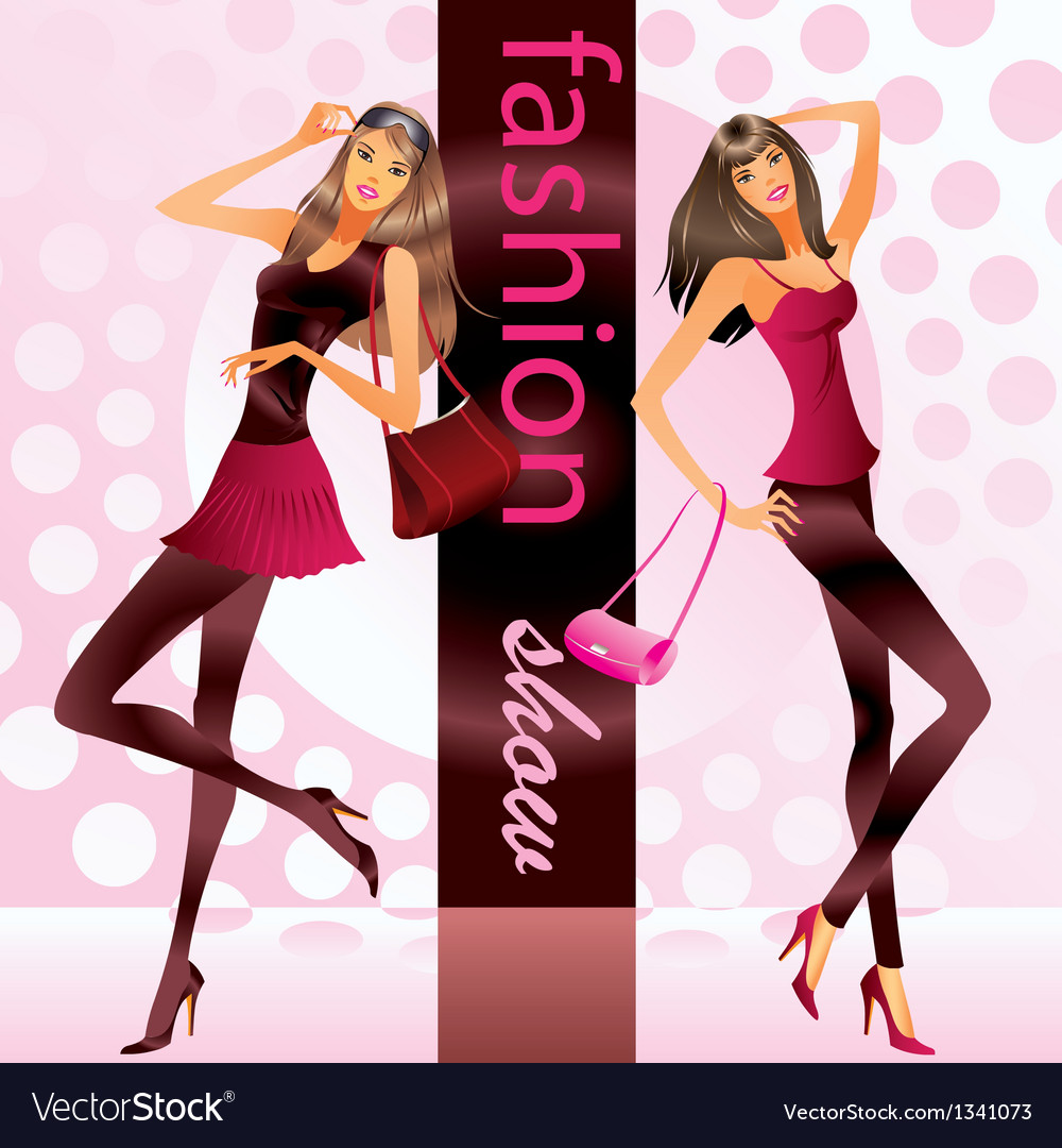 Fashion models represent new clothes at show vector | Price: 3 Credit (USD $3)