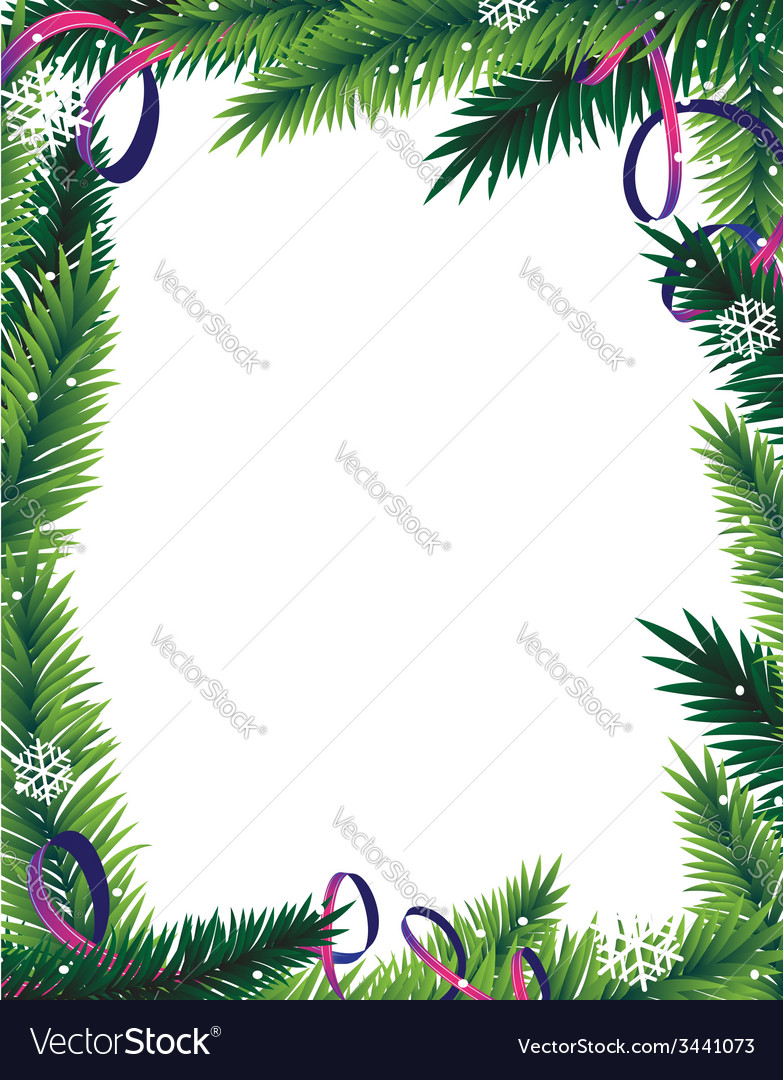 Fir tree branches frame vector   Price: 1 Credit (USD $1)