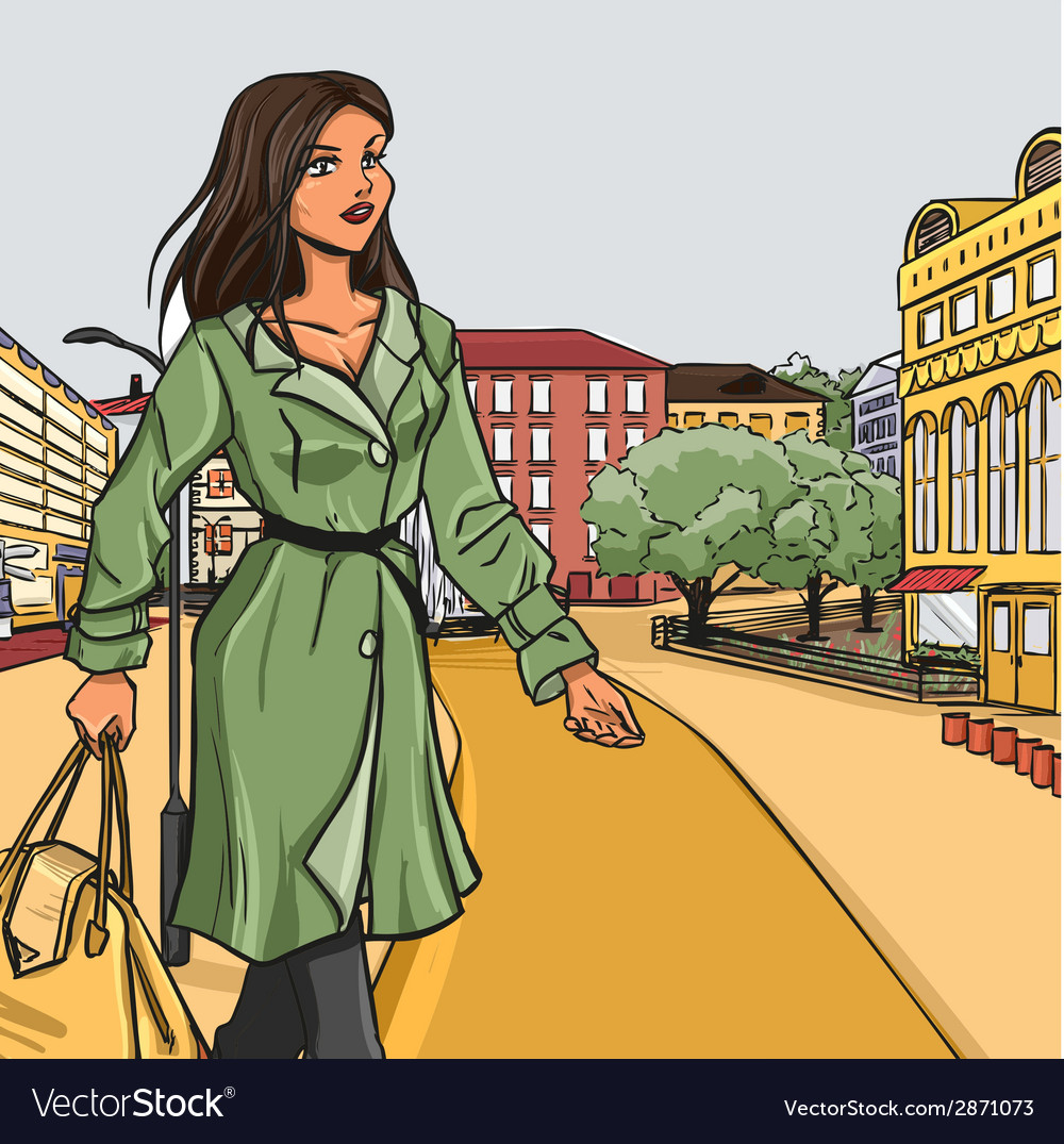Girl in green raincoat after shopping vector | Price: 3 Credit (USD $3)