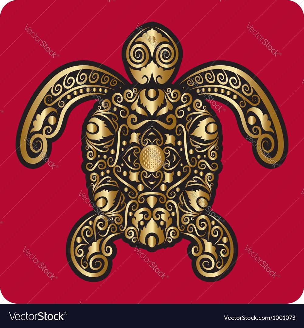 Golden turtle ornament vector | Price: 1 Credit (USD $1)