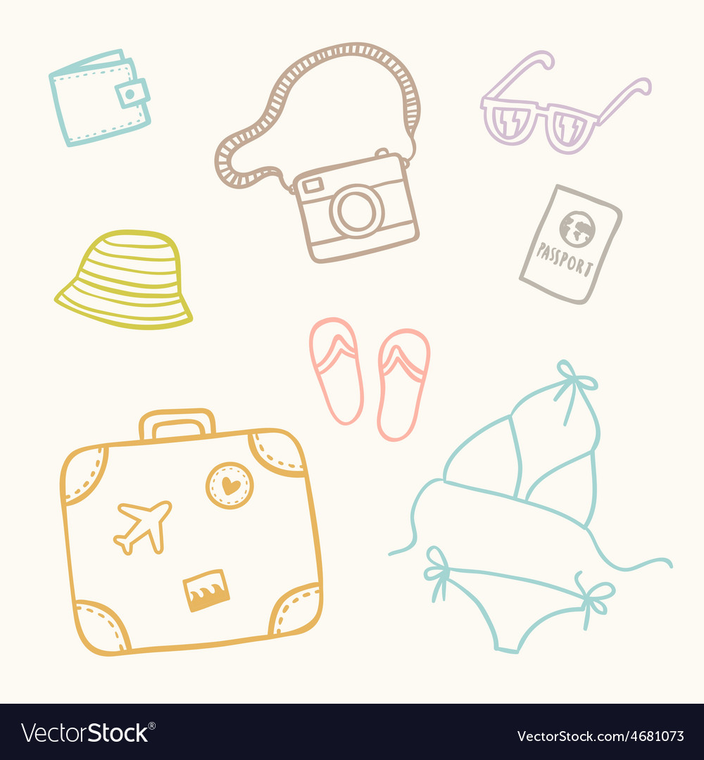 Hand drawn sketch travel set vector | Price: 1 Credit (USD $1)