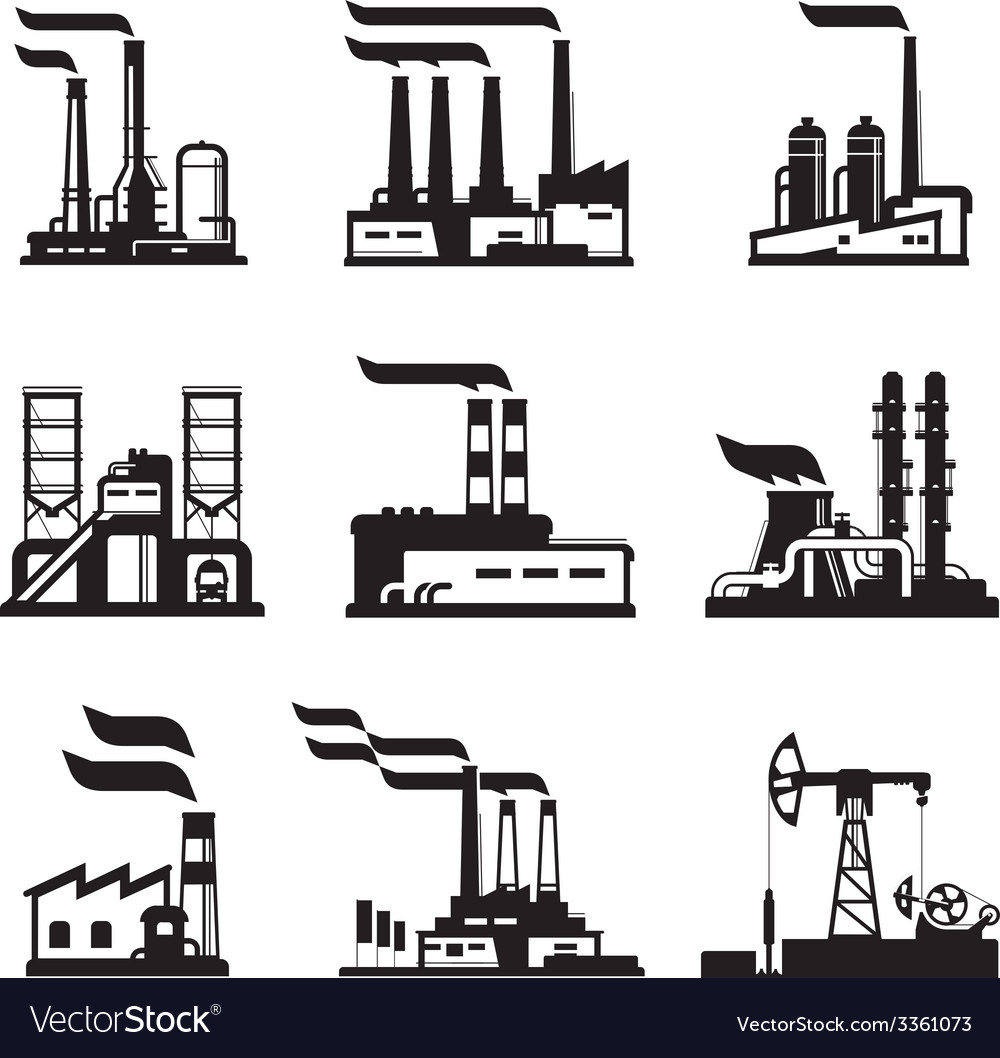 Industrial buildings nuclear plants and factories vector | Price: 1 Credit (USD $1)