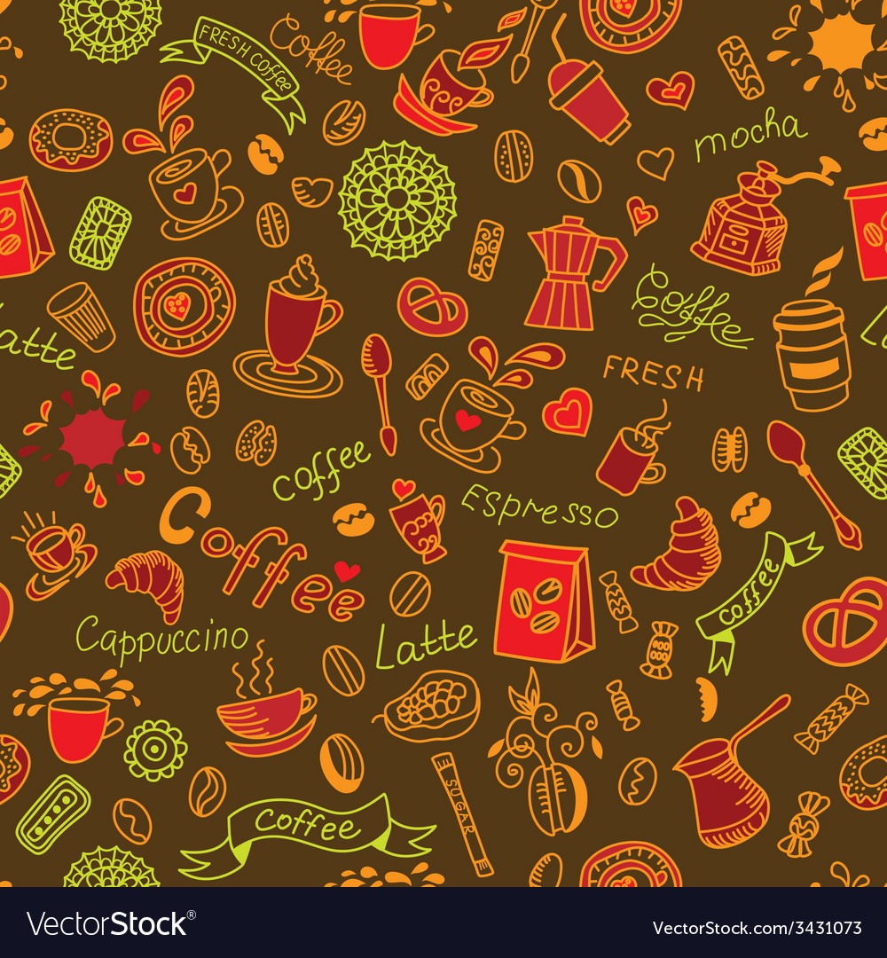 Seamless color doodles background with coffee vector | Price: 1 Credit (USD $1)