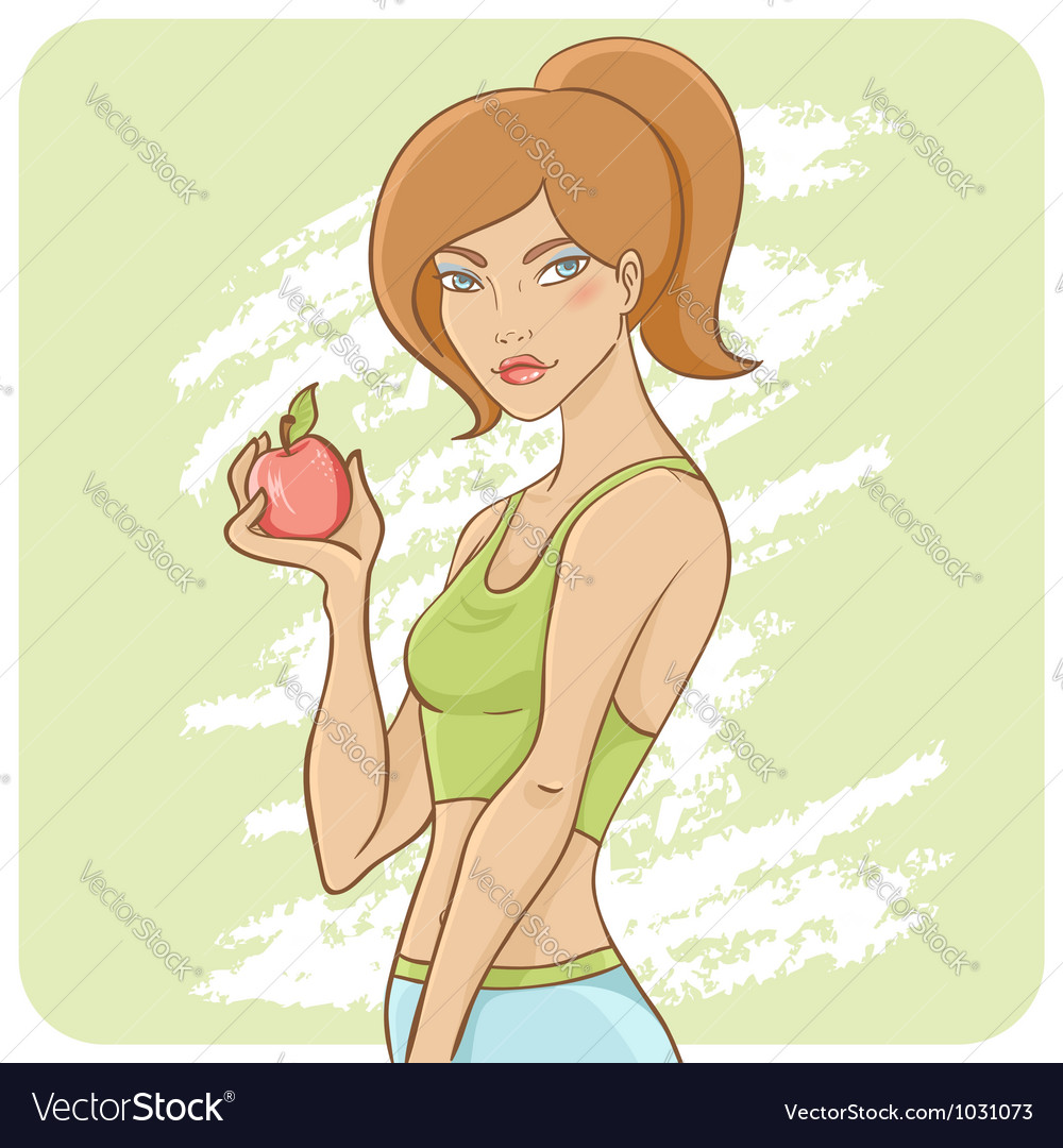 Sporty fit girl on a diet vector | Price: 3 Credit (USD $3)