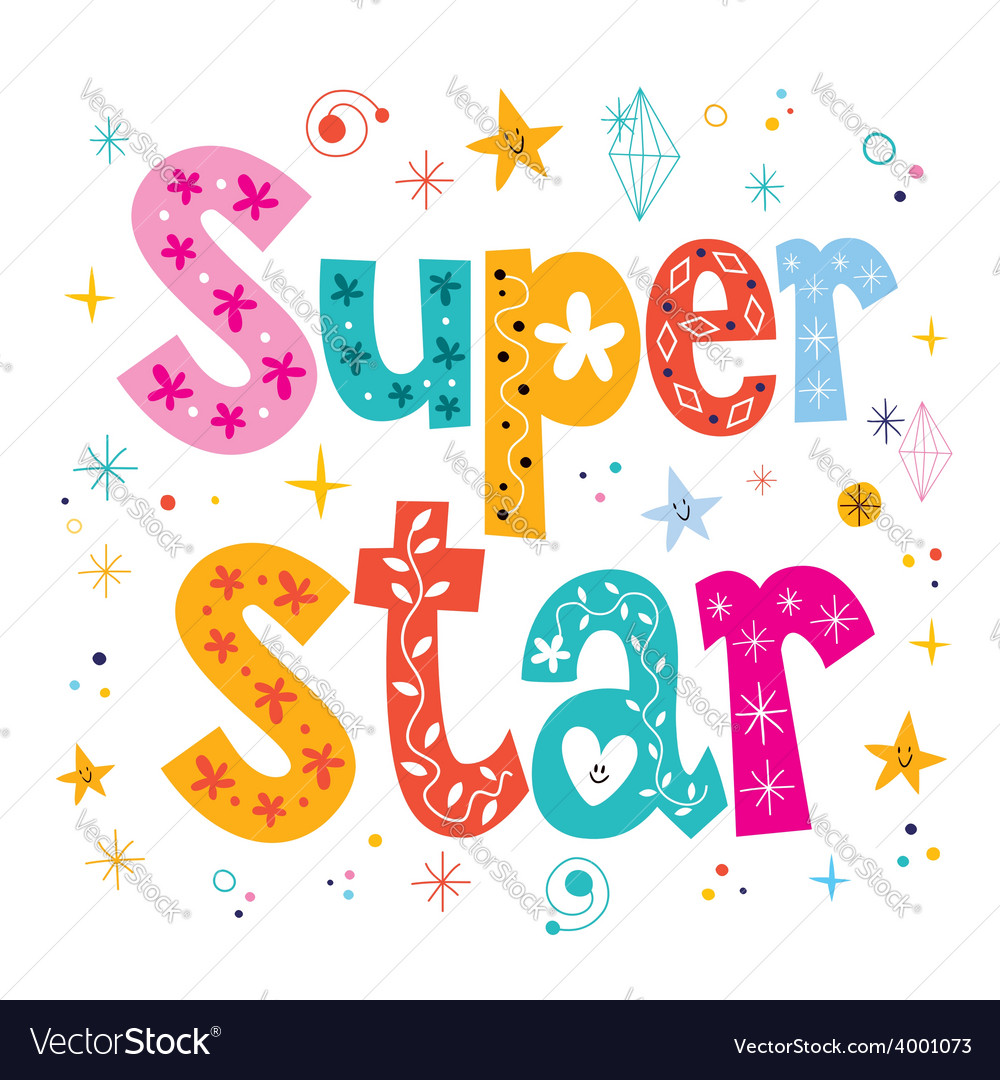 Super star decorative lettering type design vector
