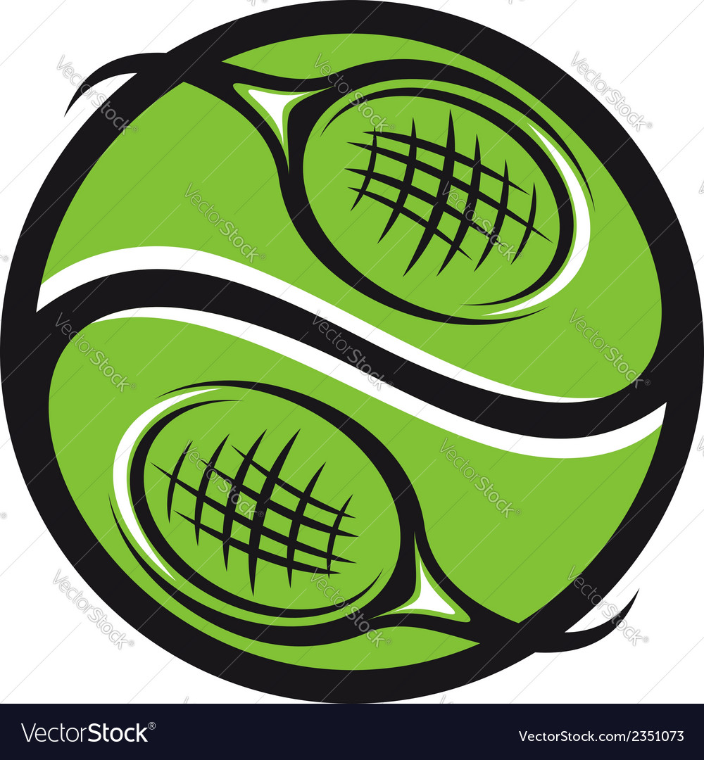 Tennis ball with rackets icon vector | Price: 1 Credit (USD $1)