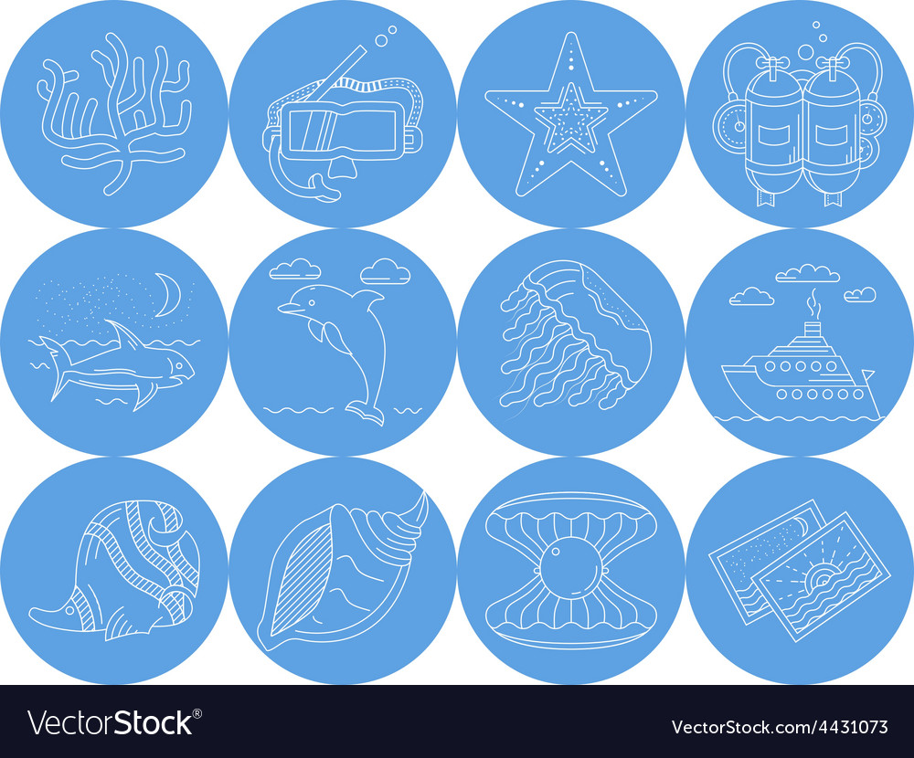 Underwater blue round icons vector | Price: 1 Credit (USD $1)