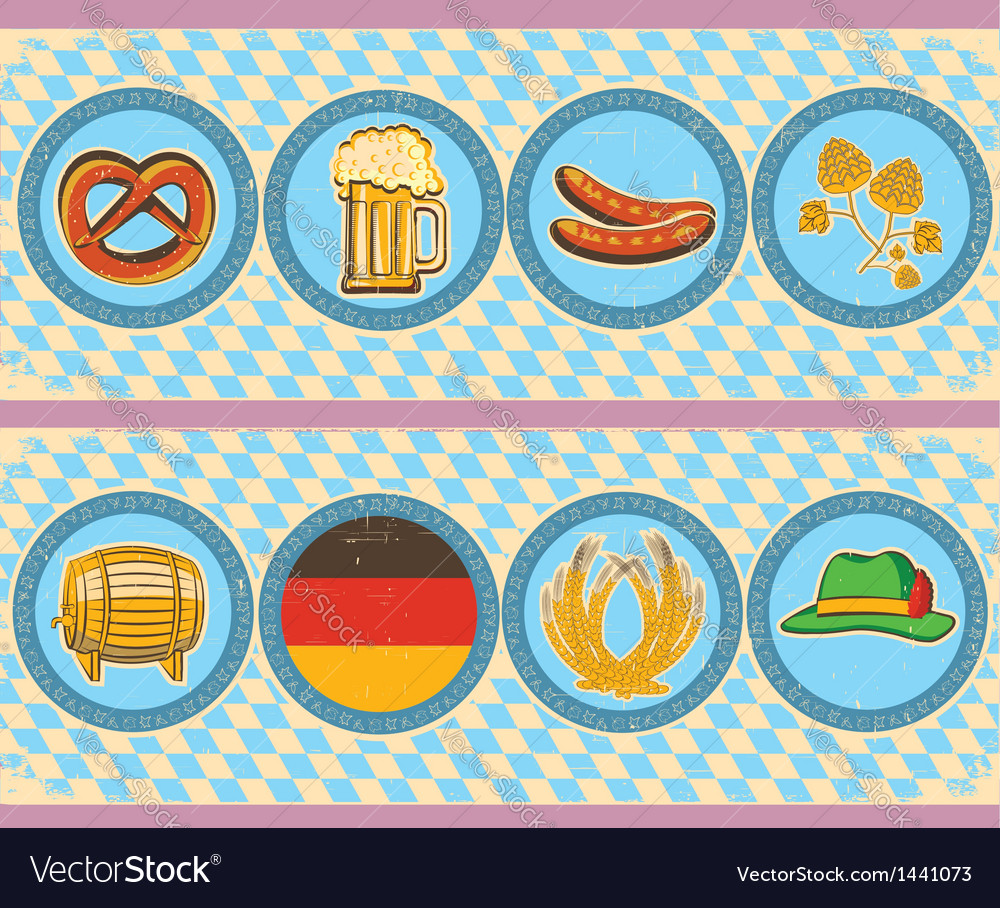 Vintage beer elements with oktoberfest symbol on vector | Price: 1 Credit (USD $1)