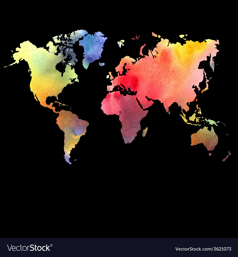 Watercolor map on a black background vector | Price: 1 Credit (USD $1)