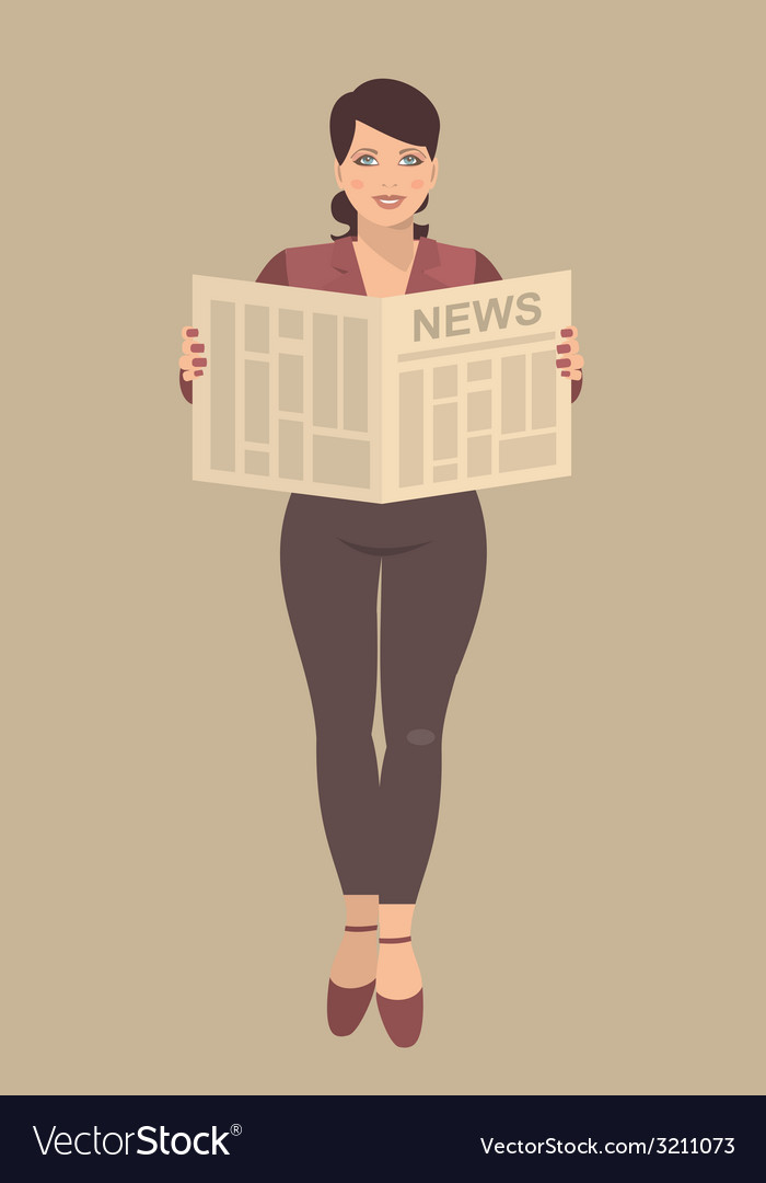 Young business woman reading a newspaper in their vector | Price: 1 Credit (USD $1)