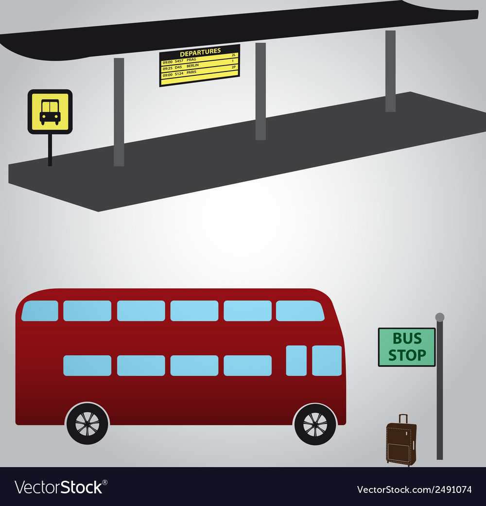 Bus stop and bus eps10 vector | Price: 1 Credit (USD $1)
