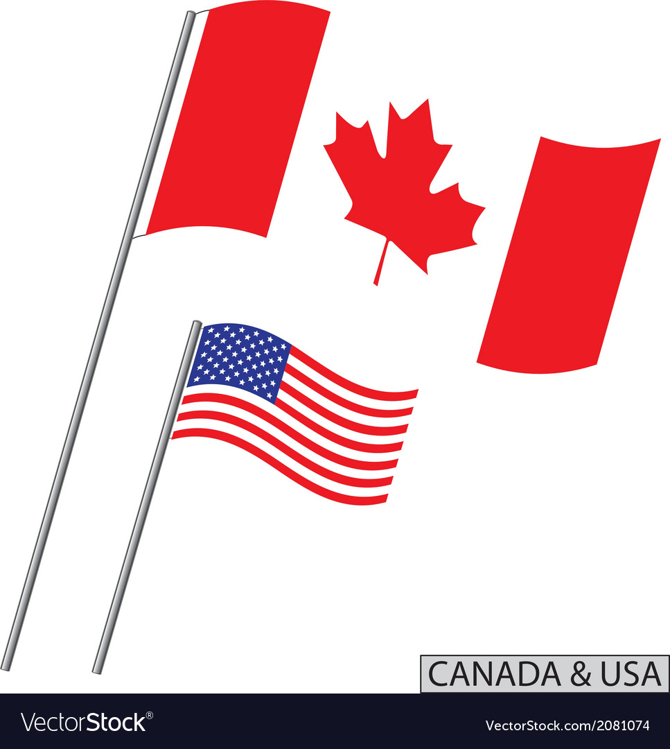 Canada and usa flags vector