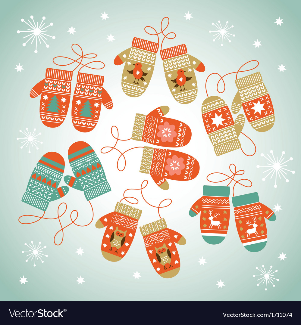 Card design with christmas mittens vector | Price: 1 Credit (USD $1)