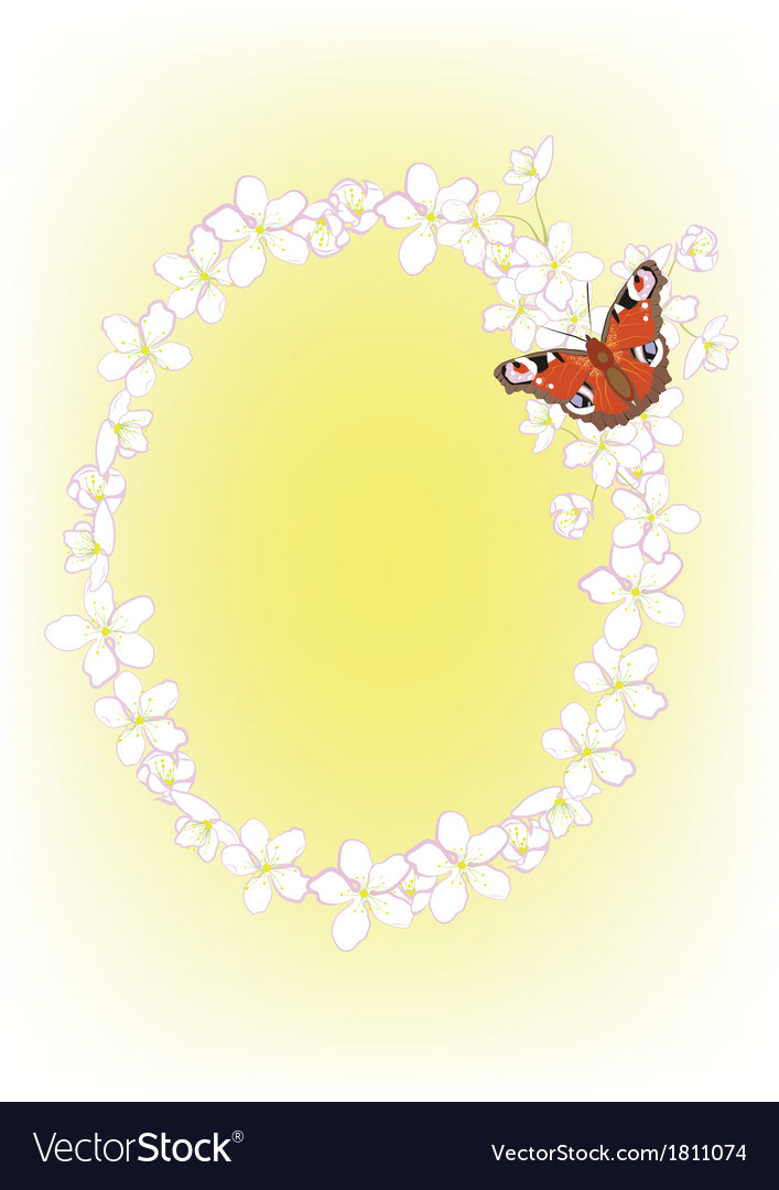 Cherry blossoms and butterflies vector | Price: 1 Credit (USD $1)