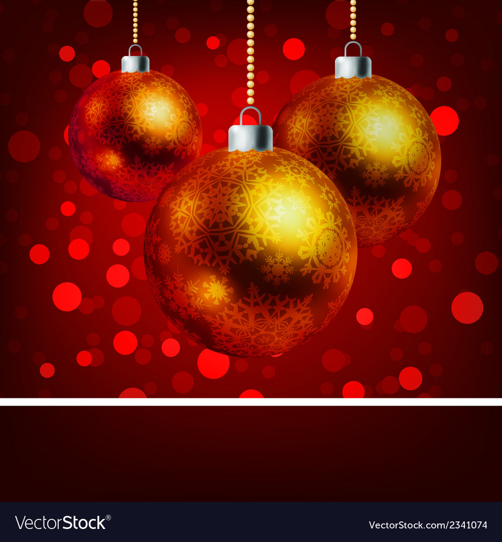 Christmas baubles with bokeh background eps 8 vector | Price: 1 Credit (USD $1)
