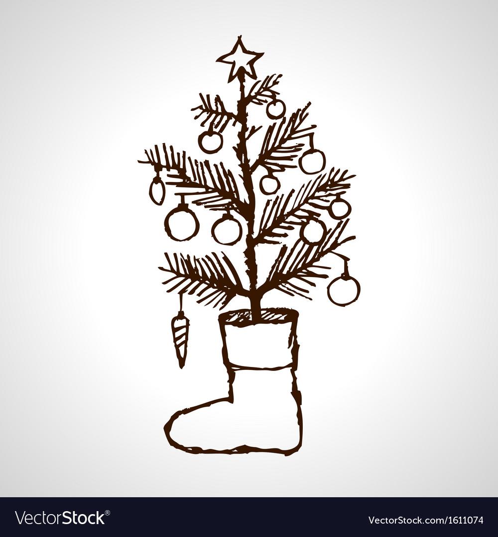 Christmas creative hand drawn fir tree vector | Price: 1 Credit (USD $1)