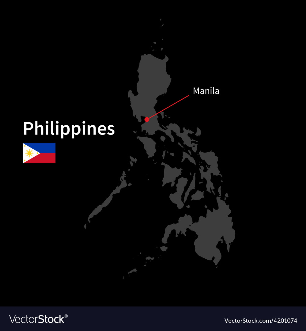 Detailed map of philippines and capital city vector   Price: 1 Credit (USD $1)