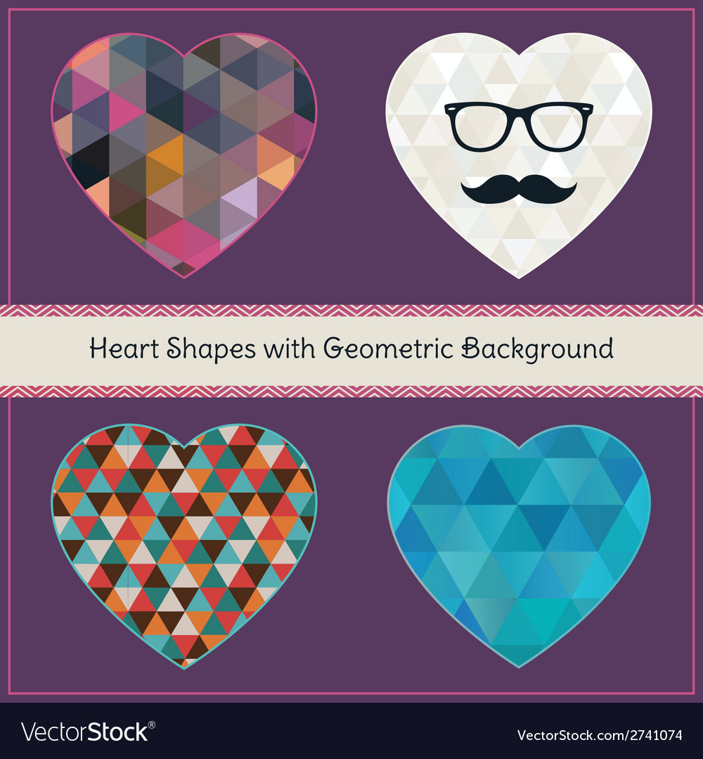 Heart shapes with geometric grunge background vector | Price: 1 Credit (USD $1)