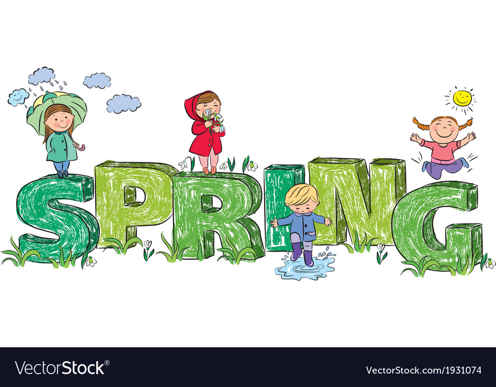 Kids on the letters spring vector | Price: 1 Credit (USD $1)