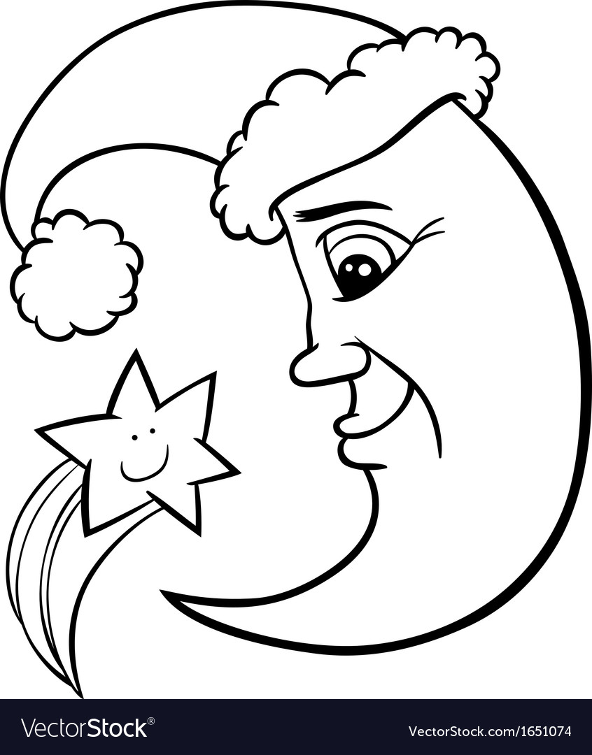 Moon and star christmas coloring page vector | Price: 1 Credit (USD $1)