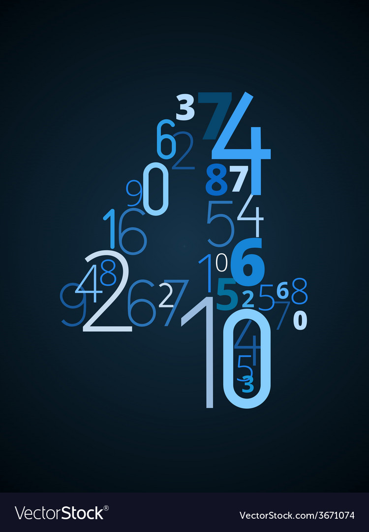 Number 4 font from numbers vector | Price: 1 Credit (USD $1)