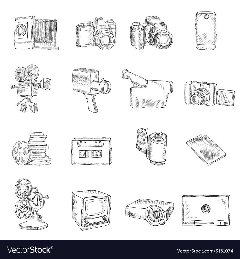 Photo video doodle icons vector | Price: 1 Credit (USD $1)