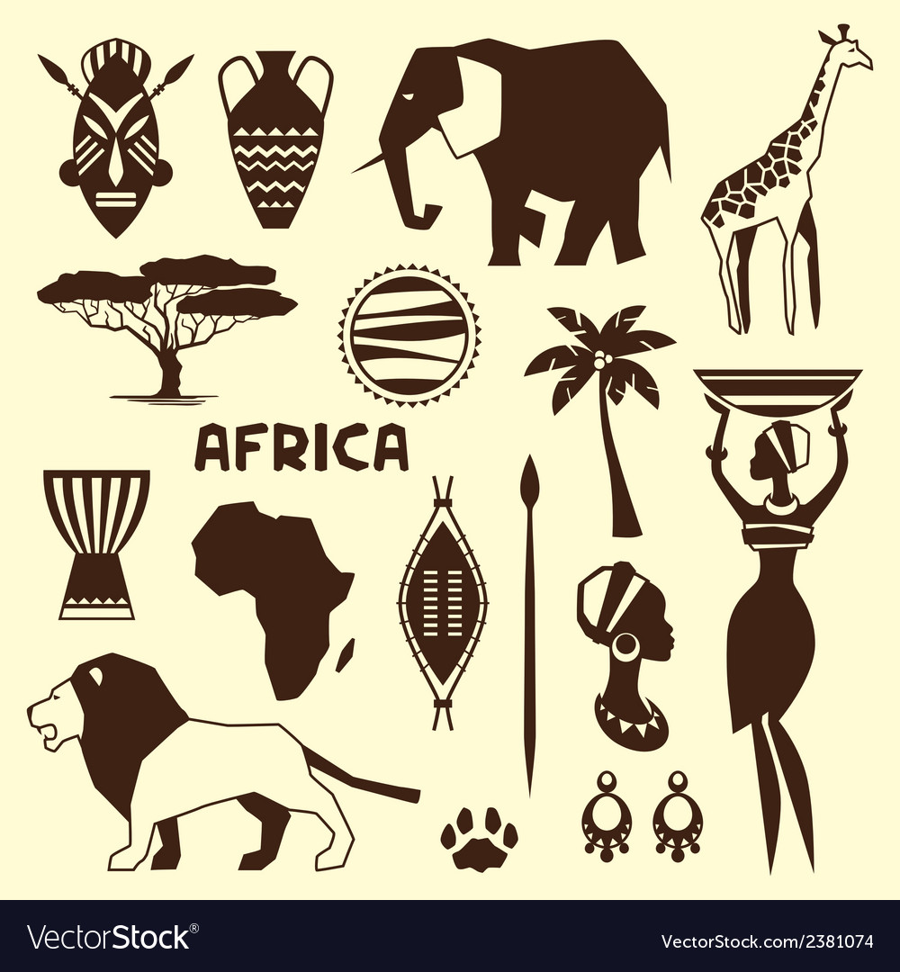 Set of african ethnic style icons in flat style vector | Price: 1 Credit (USD $1)