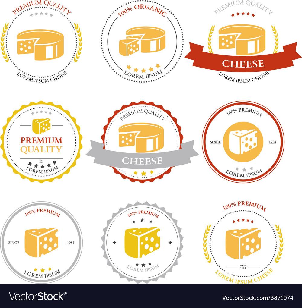 Set of premium cheese labels badges vector | Price: 1 Credit (USD $1)