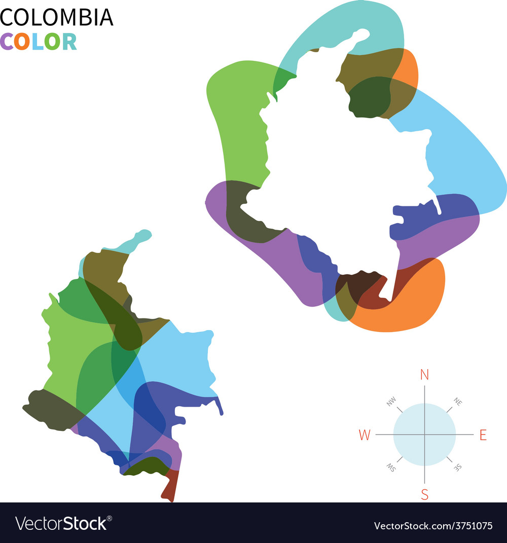 Abstract color map of colombia vector | Price: 1 Credit (USD $1)