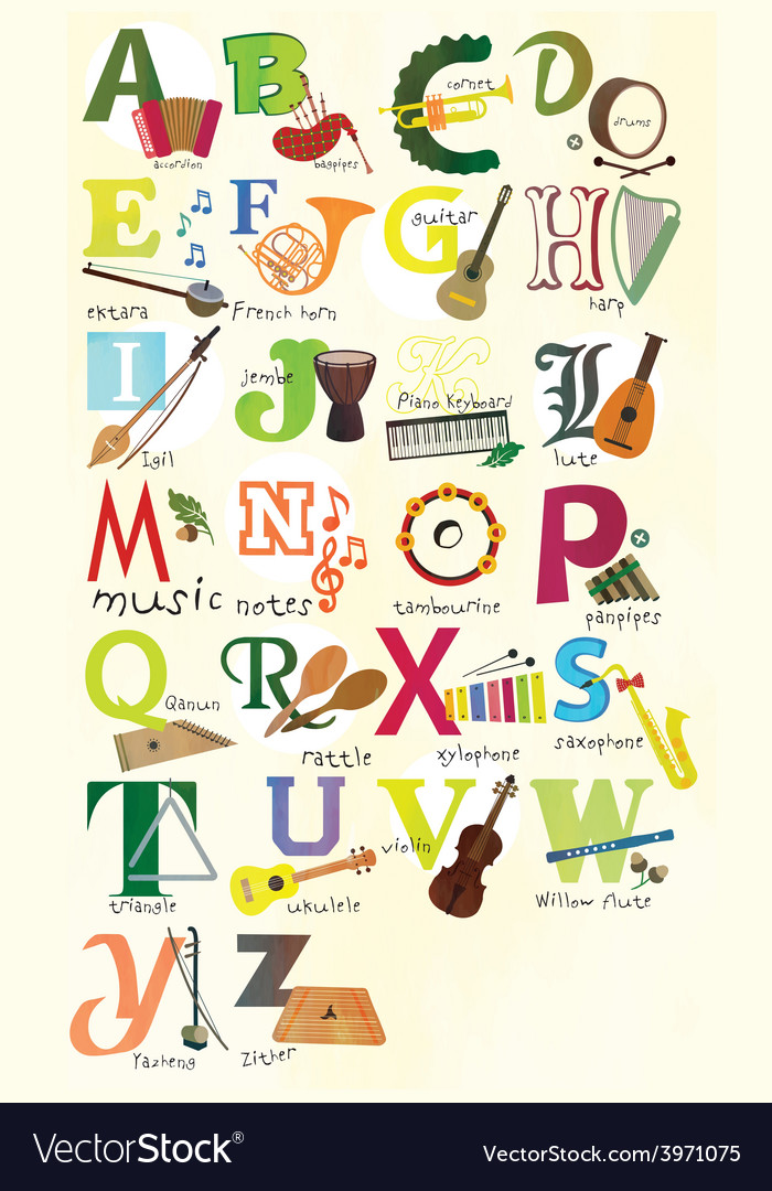 Classical musical instruments alphabet vector | Price: 1 Credit (USD $1)