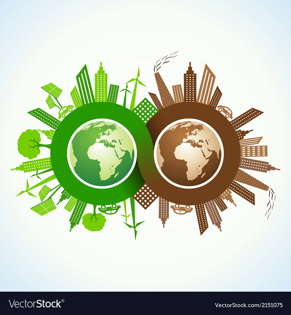 Eco and polluted city around infinity symbol vector | Price: 1 Credit (USD $1)