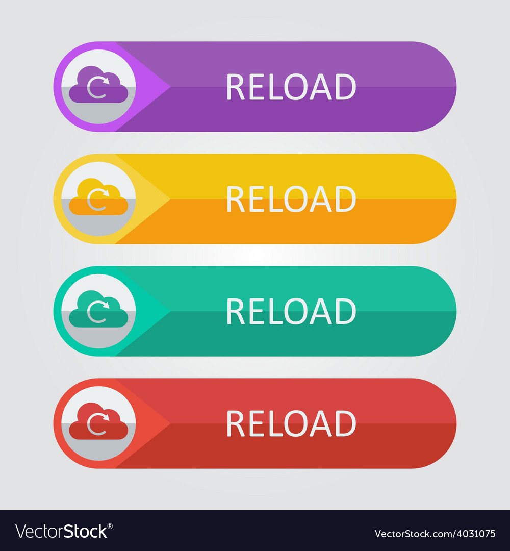Flat buttons cloud reload vector | Price: 1 Credit (USD $1)