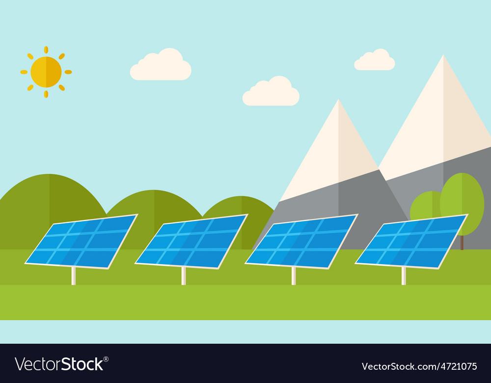 Four solar panels vector | Price: 1 Credit (USD $1)
