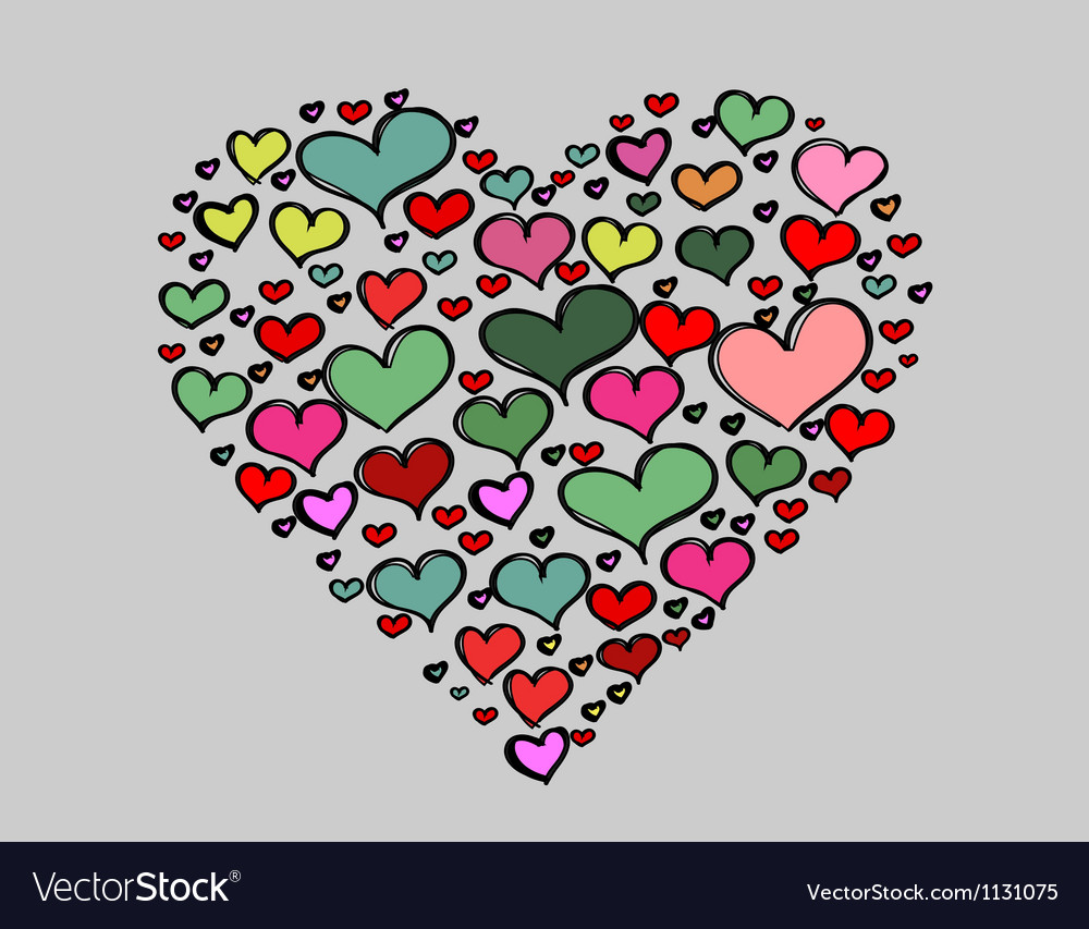 Hand-drawn valentines day big love colorful heart vector | Price: 1 Credit (USD $1)