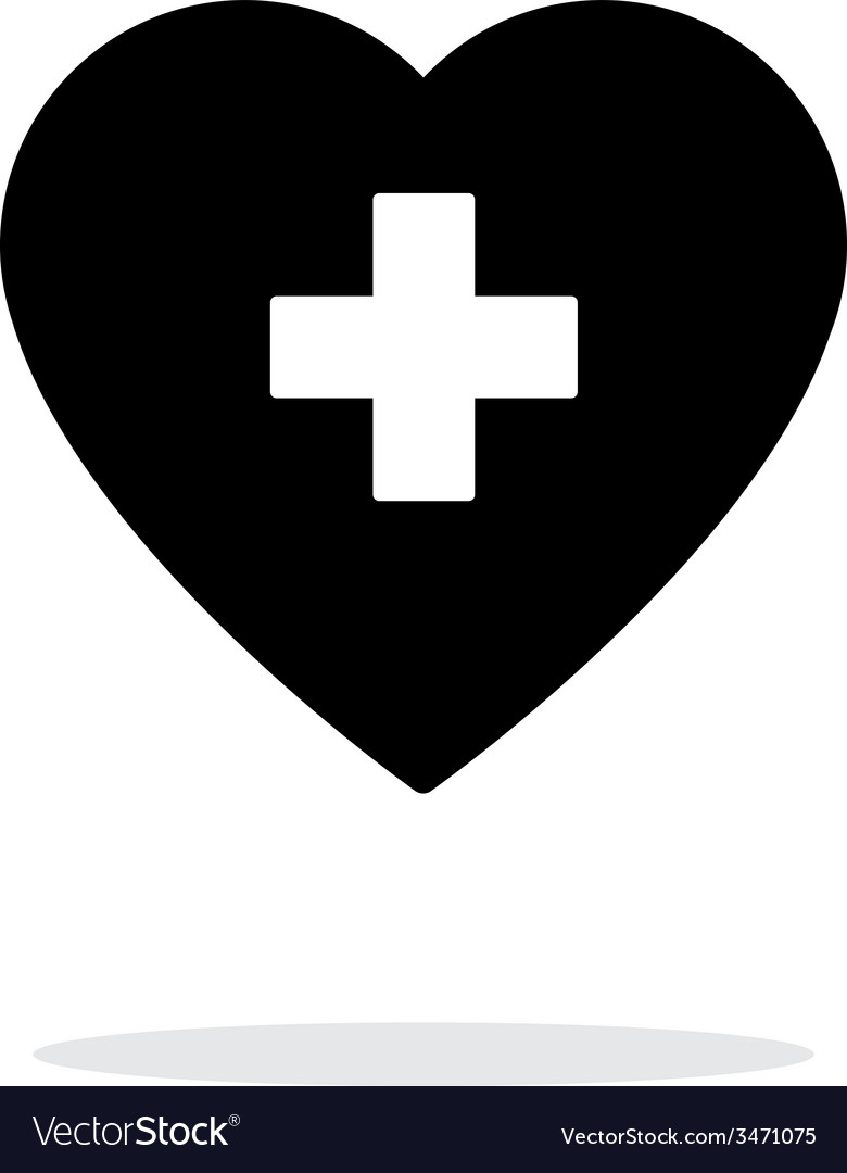 Heart with medical cross icon on white background vector | Price: 1 Credit (USD $1)