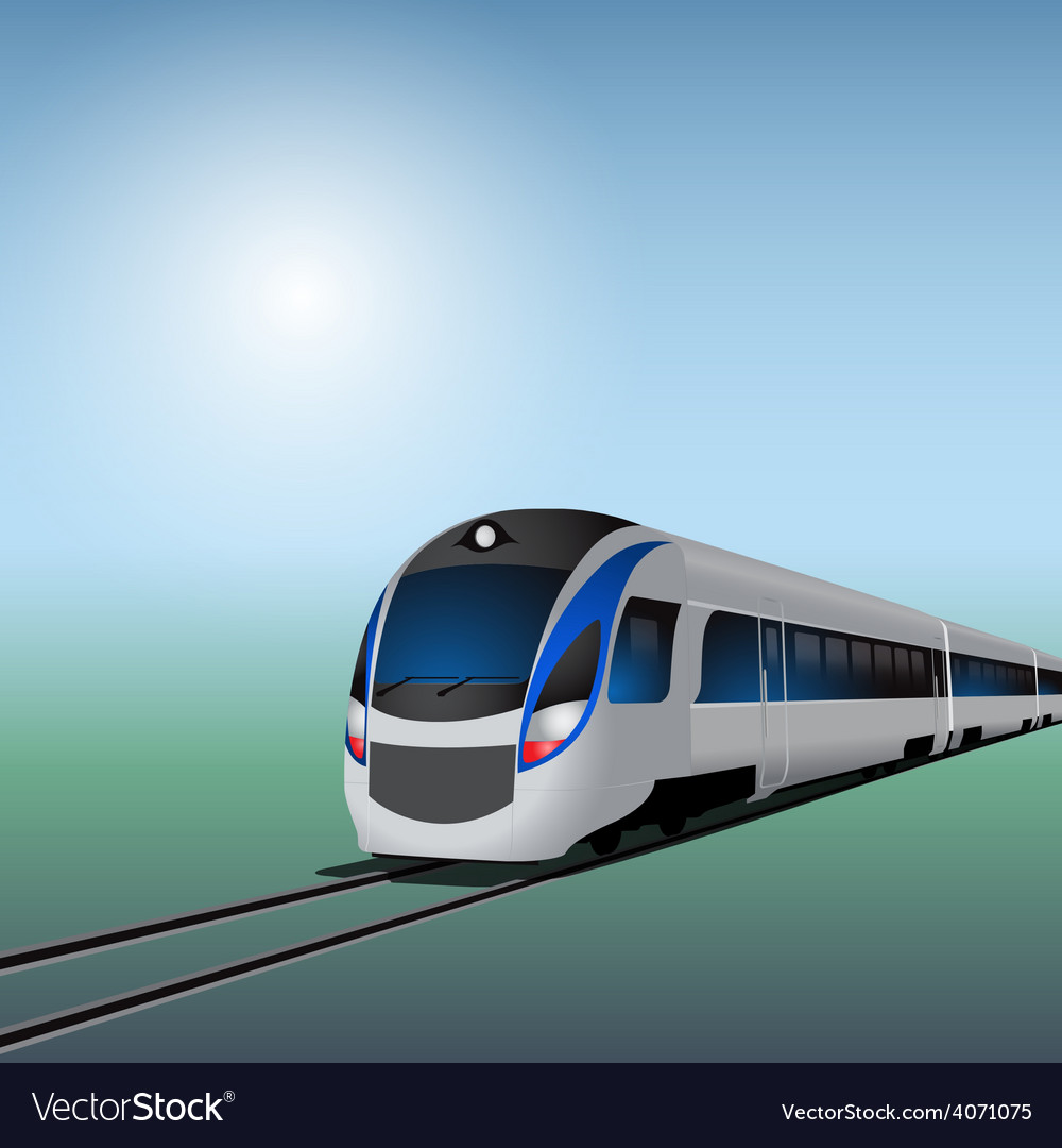 High speed train at sunny day vector | Price: 3 Credit (USD $3)