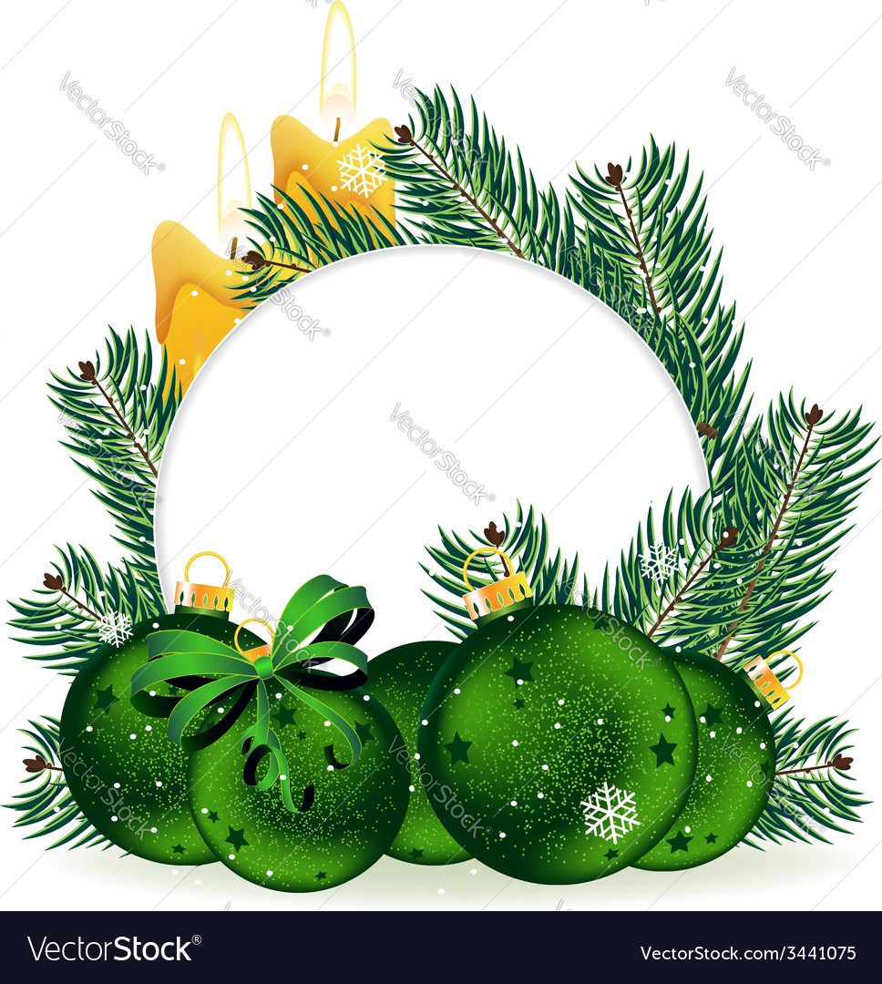 Holiday baubles and pine tree branches vector | Price: 3 Credit (USD $3)