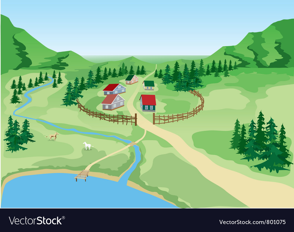 Little the country at the foot of mountains vector | Price: 1 Credit (USD $1)