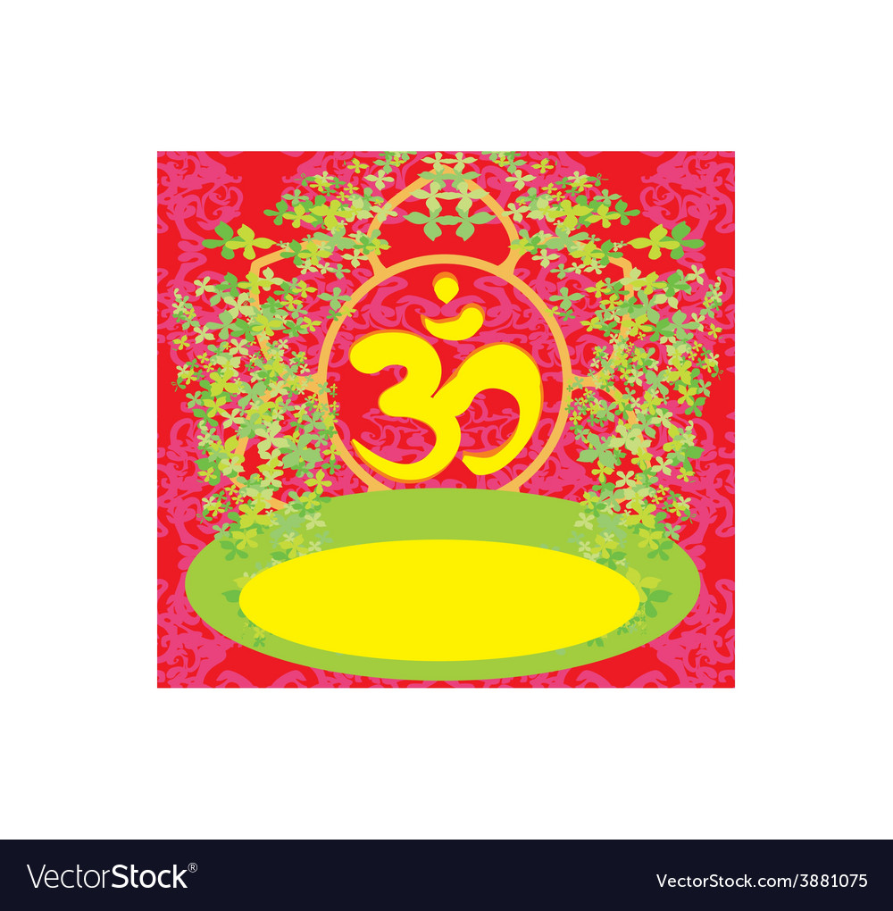 Om aum symbol on a red background vector | Price: 1 Credit (USD $1)