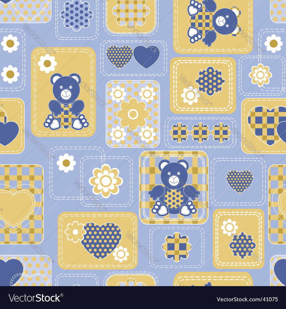 Seamless from hearts and bears vector | Price: 1 Credit (USD $1)