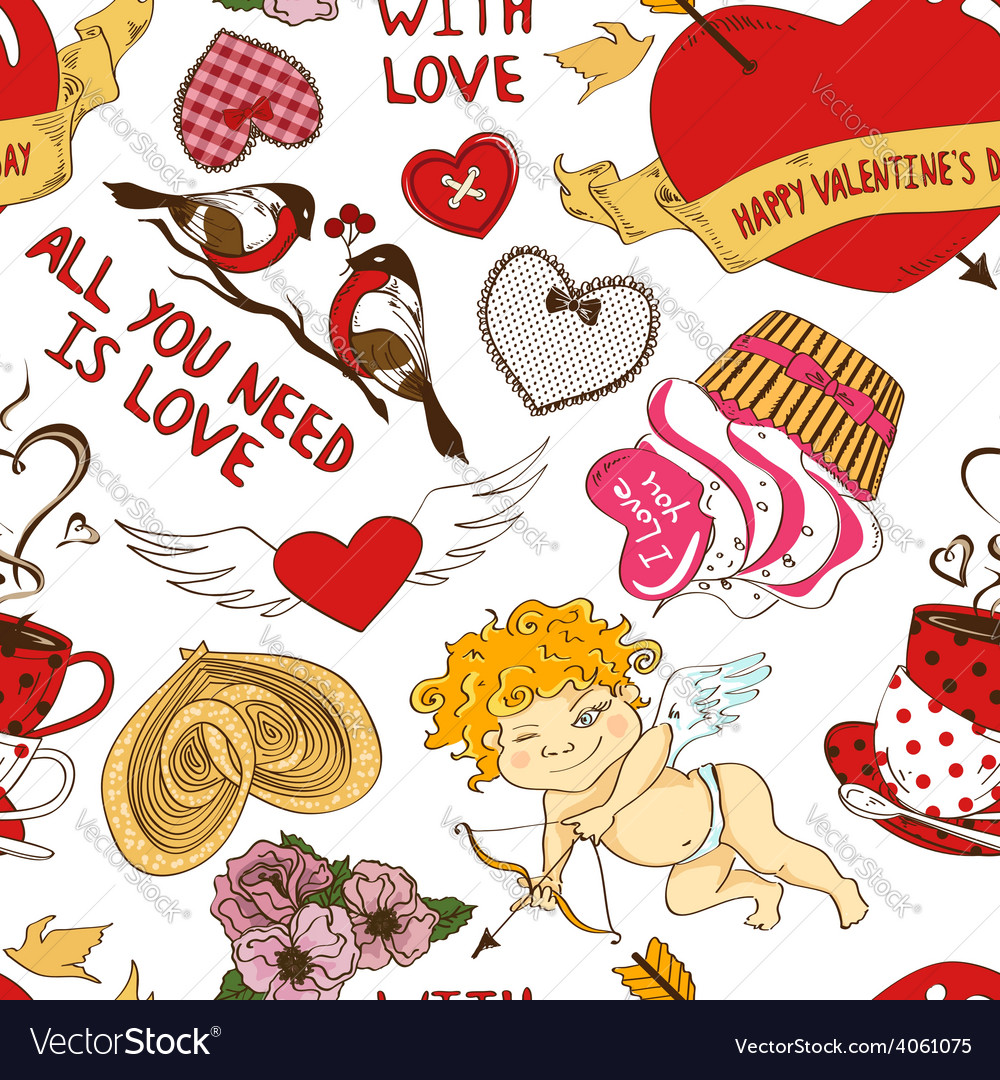 Seamless pattern with funny cartoon love elements vector   Price: 1 Credit (USD $1)