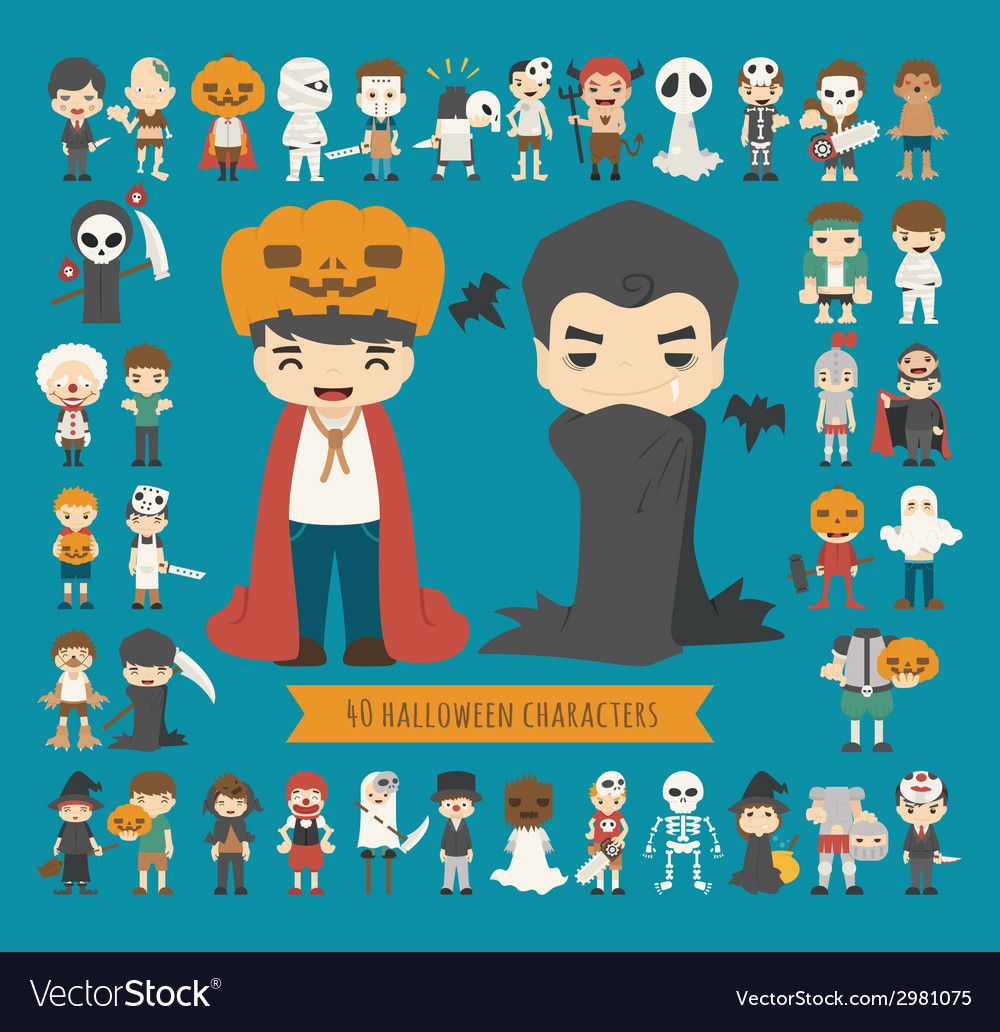 Set of 40 halloween costume characters vector | Price: 1 Credit (USD $1)