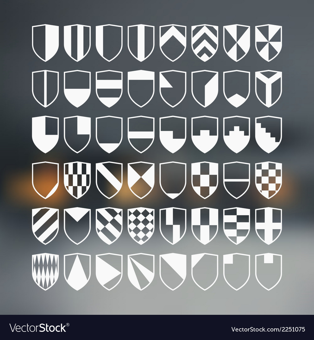 Set of 48 blank of retro shields vector | Price: 1 Credit (USD $1)