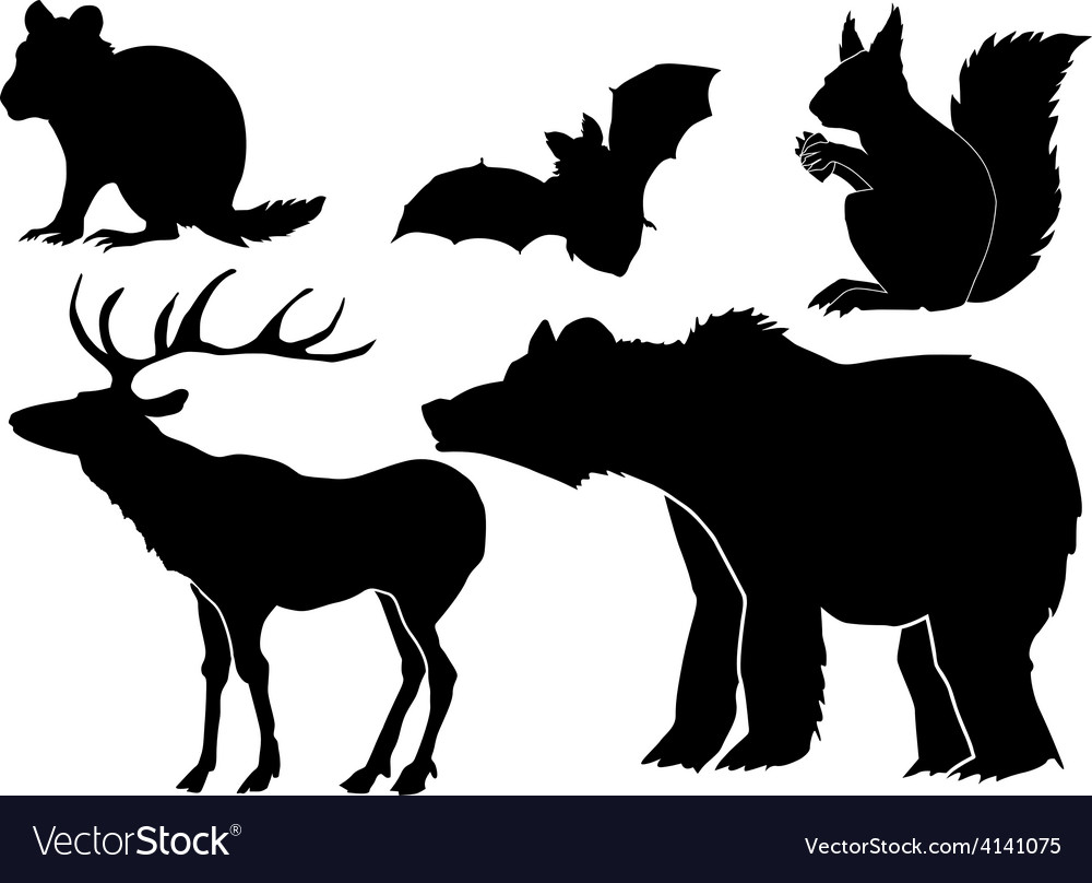 Set of silhouettes of forest animals vector | Price: 1 Credit (USD $1)
