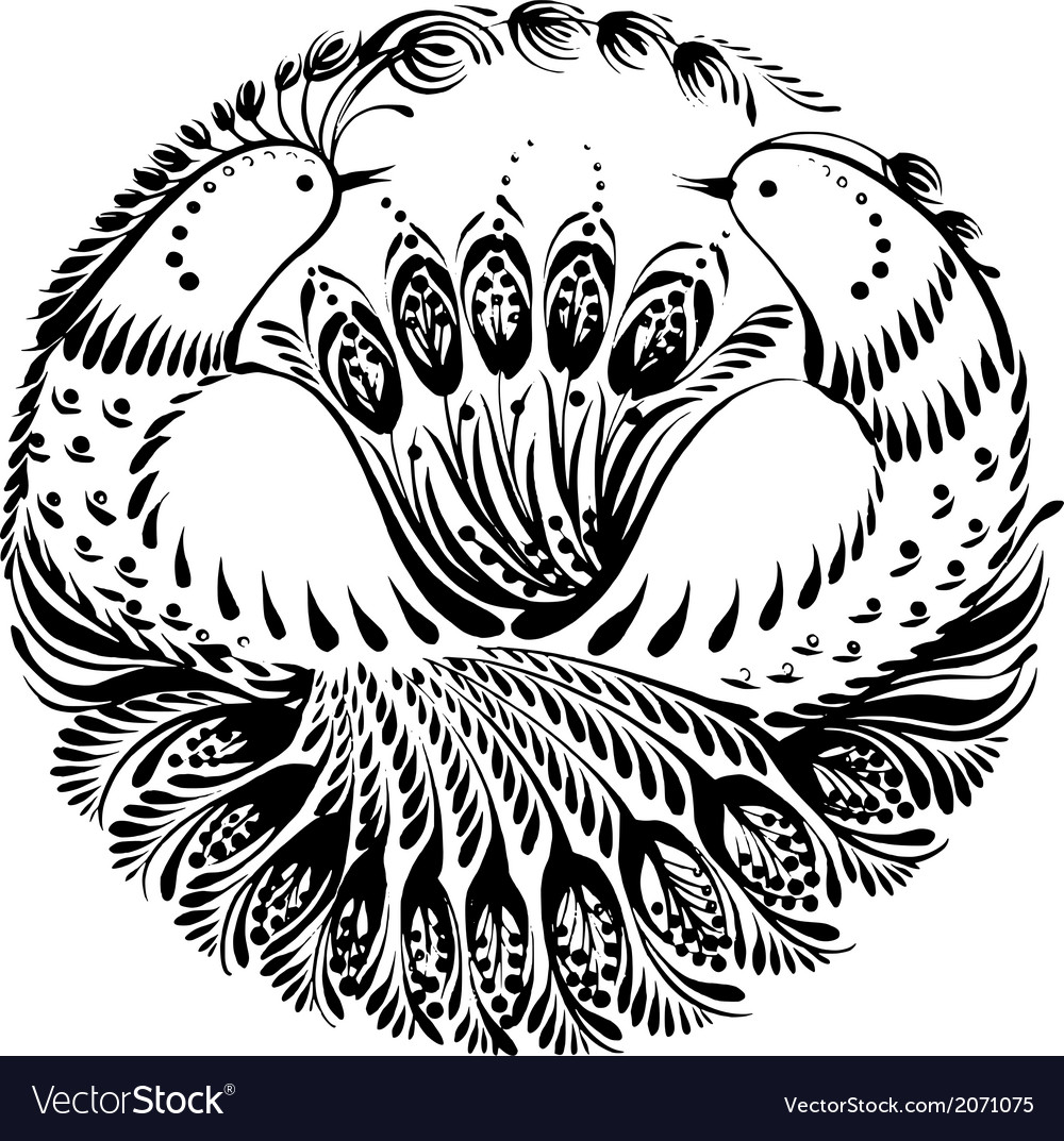 Silhouette circle birds of paradise vector | Price: 1 Credit (USD $1)