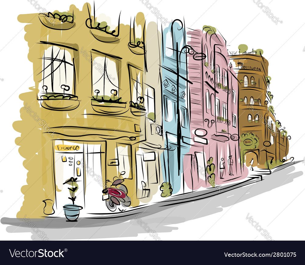 Sketch of old street for your design vector | Price: 1 Credit (USD $1)